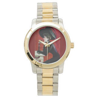 Vintage fashion lady with phone watch