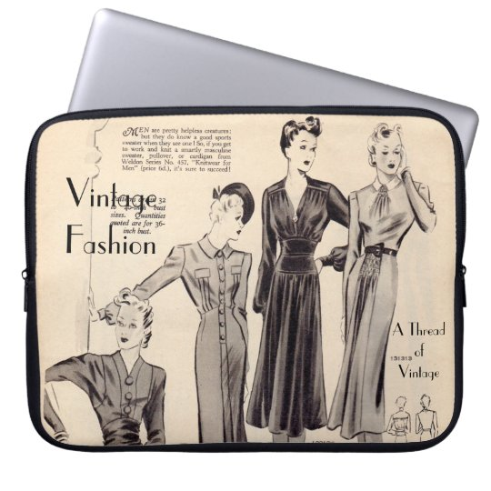 "Vintage fashion print laptop sleeve -10"" 13"" 15"""