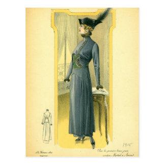 Vintage Fashion Sketch Postcard