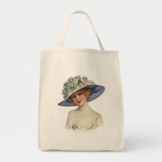 Vintage Fashion Tote - Garden Hats Grocery Tote Bag