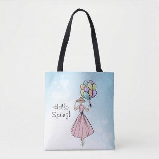 Vintage Fashionillustration Hello Spring Tote Bag