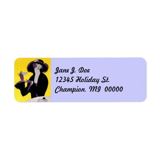 Vintage Fashions Art Deco Lady Tea address Labels