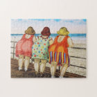 Vintage Fat Bottomed Girls at Beach Jigsaw Puzzle
