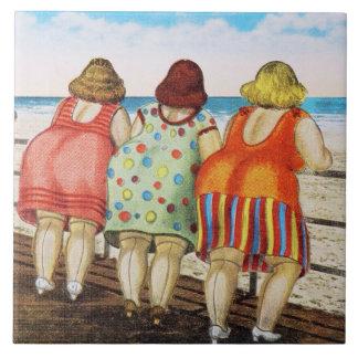 Vintage Fat Bottomed Girls at Beach Large Square Tile