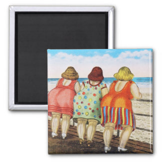 Vintage Fat Bottomed Girls at Beach Magnets