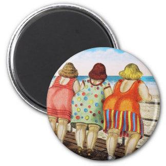 Vintage Fat Bottomed Girls at Beach Magnet