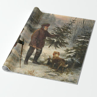 Vintage - Father and Son Picking Christmas Tree Wrapping Paper