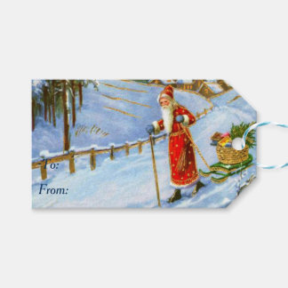 Vintage Father Christmas Gift Tags