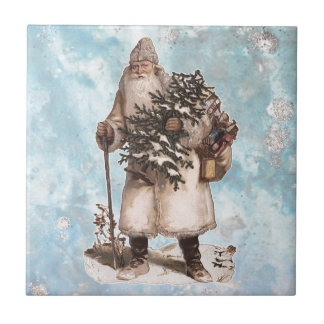 Vintage Father Christmas Santa Silver Snow Falling Ceramic Tile