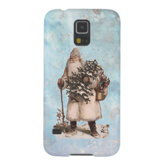 Vintage Father Christmas Santa Silver Snow Falling Galaxy S5 Case