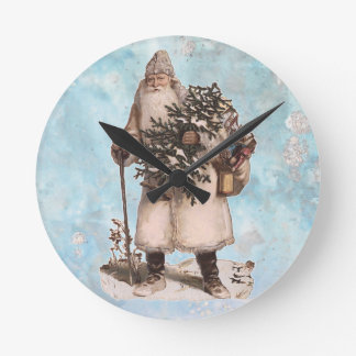 Vintage Father Christmas Santa Silver Snow Falling Round Clock