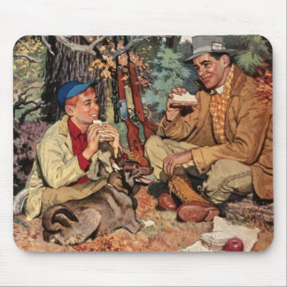 Vintage Father Son Hunting Rifle Picnic Mousepad