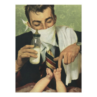 Vintage Father's Day, Dad Giving Baby a Bottle Poster