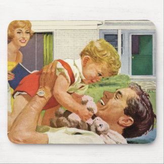 Vintage Father's Day, Happy Dad and Son Boy Mouse Pad