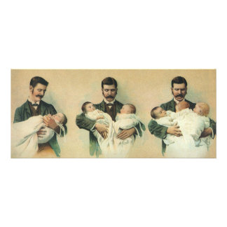 Vintage Father's Day, Man holding Triplet Babies Personalized Invites