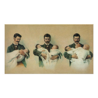 Vintage Father's Day, Man holding Triplet Babies Poster