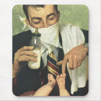 Vintage Father's Day with Dad Changing Diapers! Mouse Pad