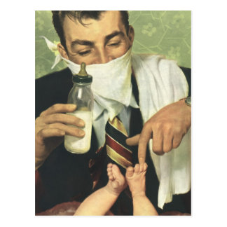 Vintage Father's Day with Dad Changing Diapers! Post Cards