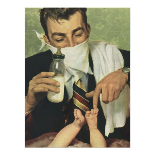 Vintage Father's Day with Dad Changing Diapers! Print