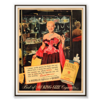 Vintage Fatima Cigarette Advertising 1952 Photo