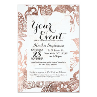 Vintage Faux Rose Gold Rustic Floral Drawings Card