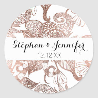 Vintage Faux Rose Gold Rustic Floral Drawings Round Sticker