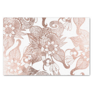 Vintage Faux Rose Gold Rustic Floral Drawings Tissue Paper