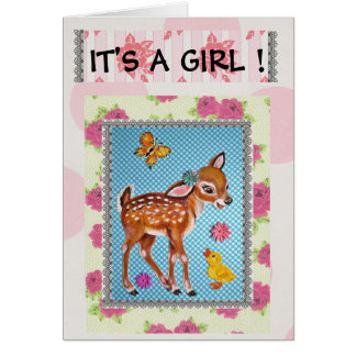 Vintage Fawn Baby Birth Announcement Card in Pink