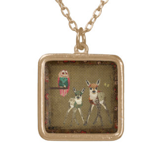 Vintage Fawns & Rosa Owl Necklace