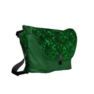 Vintage Feathery Floral Green Messenger Bag