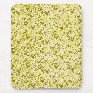 Vintage Feathery Floral Lemon Yellow Mouse Pad