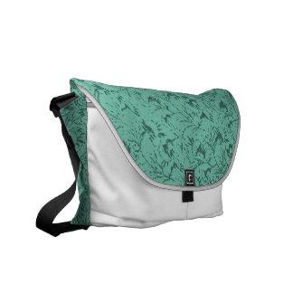 Vintage Feathery Floral Sage Messenger Bag