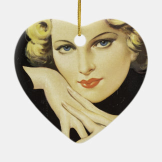 Vintage Female Face Hands Woman Blond Hair Ceramic Heart Decoration