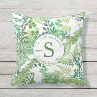 Vintage Ferns | Greenery Family Monogram Throw Pillow