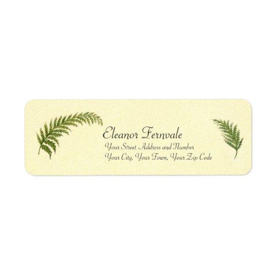 Vintage Ferns Watercolor by Emma Robert-Charrue Return Address Label