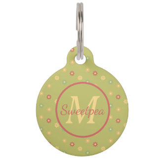 Vintage Ferris Wheel Daisies on Green Monogram Pet ID Tag