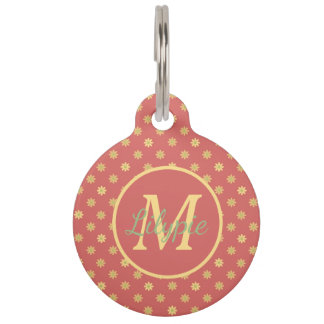 Vintage Ferris Wheel Daisies on Rose Monogram Pet Name Tag
