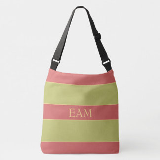 Vintage Ferris Wheel Rose Green Stripe Monogram Crossbody Bag