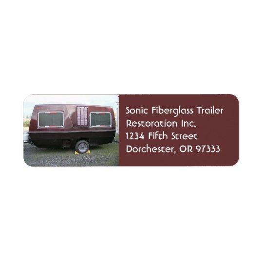 Vintage Fiberglass Travel Trailer Return Address Label
