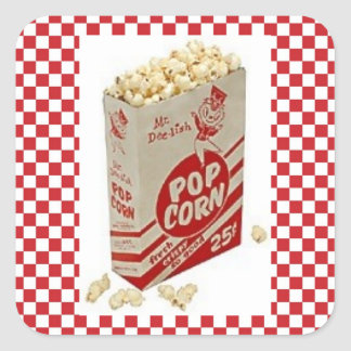 Vintage Fifties Pop Corn Red Check Stickers