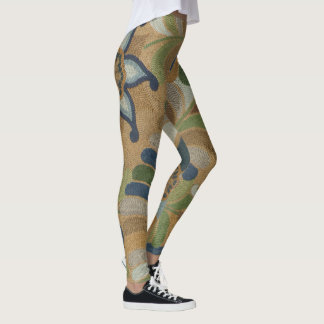 Vintage Fine Art Floral Embroidered Textile Leggings