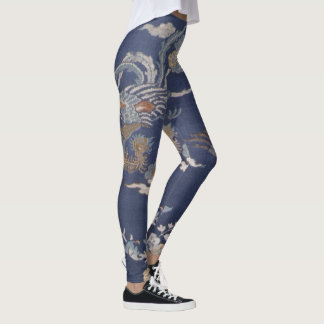 Vintage Fine Art Textile Design Blue Dragon Leggings