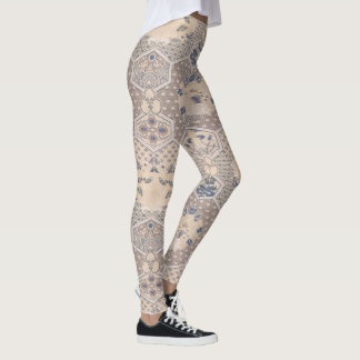 Vintage Fine Art Textile Design Geometric Pattern Leggings
