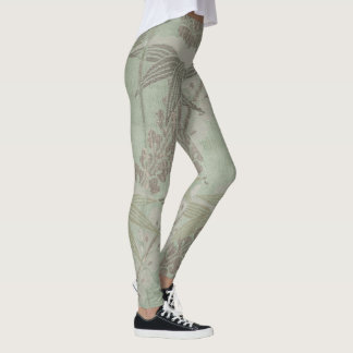 Vintage Fine Art Textile Japanese Green Bamboo Leggings