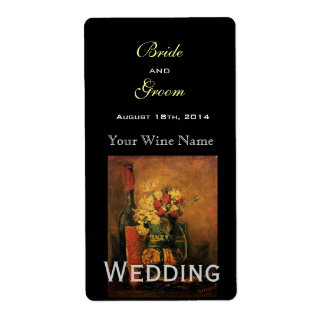 Vintage fine art wedding wine label shipping label