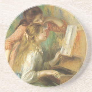 Vintage Fine Art, Young Girls at Piano by Renoir Beverage Coaster