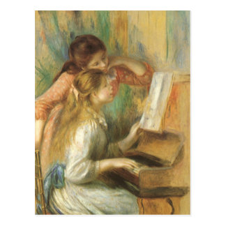 Vintage Fine Art, Young Girls at Piano by Renoir Postcard