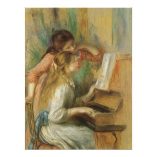 Vintage Fine Art, Young Girls at Piano by Renoir Poster