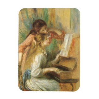 Vintage Fine Art, Young Girls at Piano by Renoir Rectangular Photo Magnet