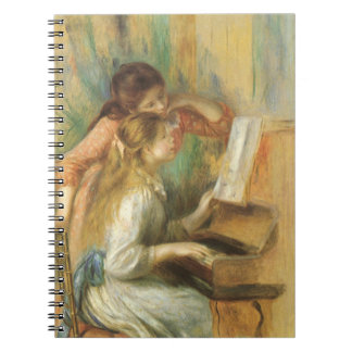 Vintage Fine Art, Young Girls at Piano by Renoir Spiral Notebooks